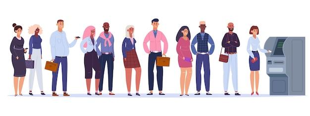 Ludzie w kolejce do bankomatu. linia do wypłaty pieniędzy, postacie męskie i żeńskie czekają na bankomat, ilustracja transakcji terminala. linia finansowa, bankomat bankowy, płatność za postacie