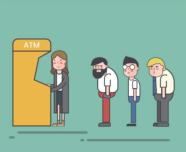 Ludzie w kolejce do bankomatu