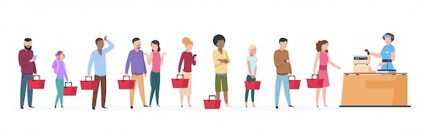 Ludzie w kolejce. mężczyzna i kobieta stojąca czeka w długiej linii. zatłoczona kolejka w koncepcji sklepu spożywczego