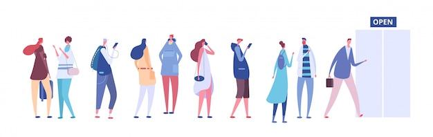 Ludzie w kolejce. mężczyźni i kobiety w zwykłych ubraniach, osoby w kolejce przed otwartymi drzwiami sklepu. koncepcja wektor