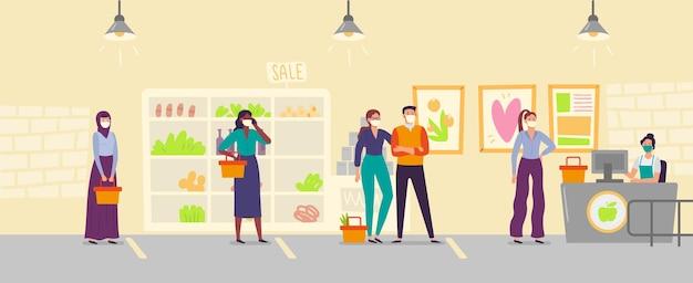 Ludzie w kolejce sklepowej zachowujący dystans społeczny. mężczyźni i kobiety noszący medyczną maskę na twarz kupując jedzenie w supermarkecie. bezpieczna odległość. osoby z koszykami w kolejce, chronione przed wektorem wirusa