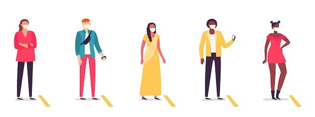 Ludzie w kolejce zachowujący dystans społeczny. zróżnicowany mężczyzna i kobieta stojąca w kolejce z dystansem. sytuacja pandemiczna koronawirusa. męskie i żeńskie postacie noszące maski ilustracji wektorowych