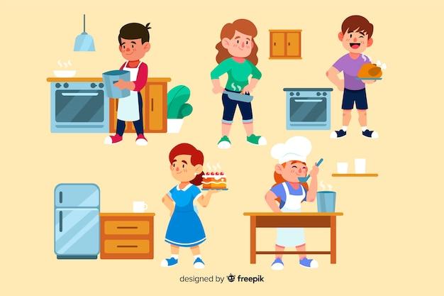 Ludzie w kolekcji kuchni