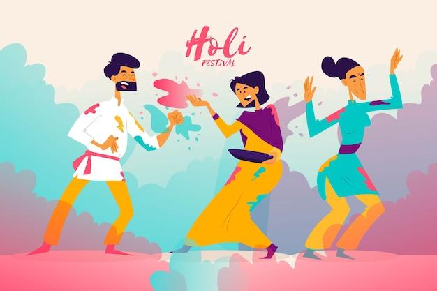 Ludzie w kolorowe ubrania z okazji festiwalu holi