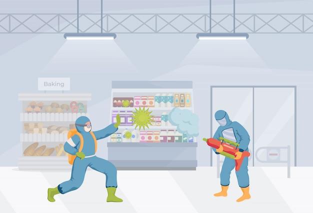 Ludzie w kombinezonach ochronnych czyszczą płaską ilustrację sklepu spożywczego. środki czyszczące walczą z komórkami koronawirusa.