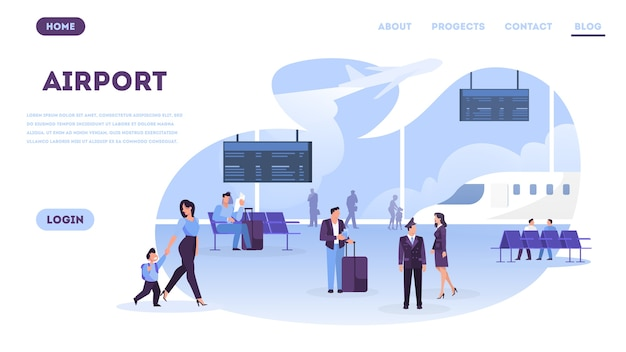 Ludzie w koncepcji baneru internetowego lotniska.