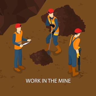 Ludzie w kopalni izometryczny szablon