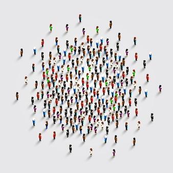 Ludzie w kształcie koła. ilustracja wektorowa.