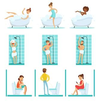 Ludzie w łazience wykonujący rutynowe procedury higieny, biorąc kąpiel, prysznic i korzystający z toalety