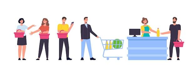 Ludzie w linii koncepcji sklepu