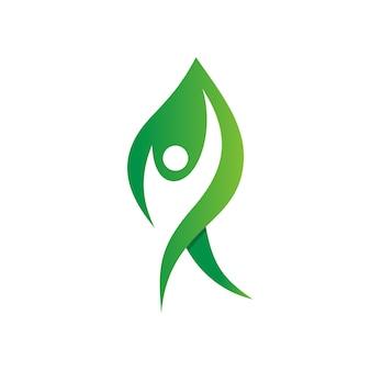 Ludzie w logo nature kształt liścia
