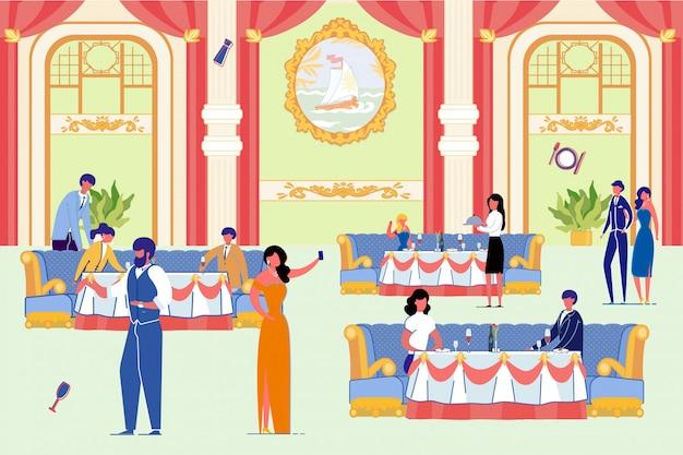 Ludzie w luksusowej restauracji z eleganckim wnętrzem