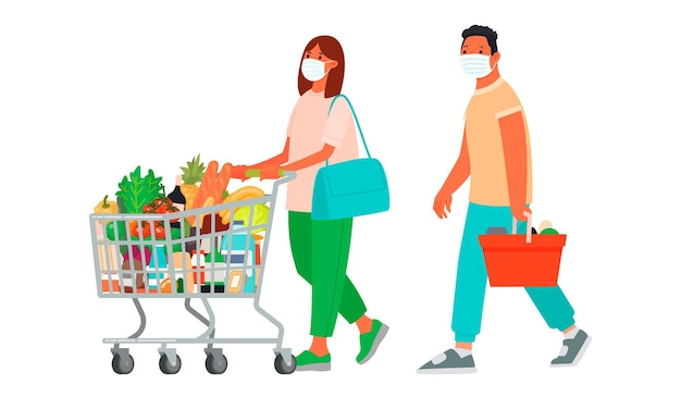 Ludzie w maseczkach medycznych robią zakupy mężczyzna i kobieta w supermarkecie