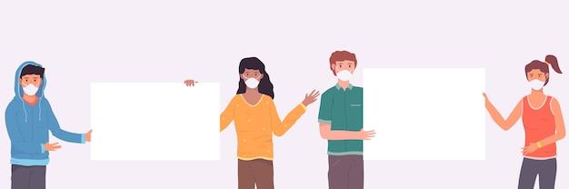 Ludzie w maskach medycznych z pustymi tabliczkami