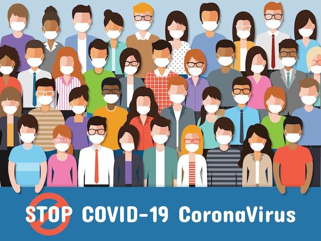Ludzie w maskach na twarz walczący o koronawirusa, covid-19.