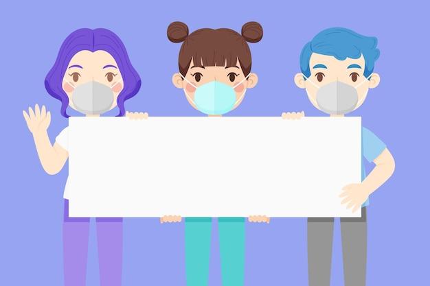 Ludzie w maskach na twarzach z ilustrowanymi plakatami