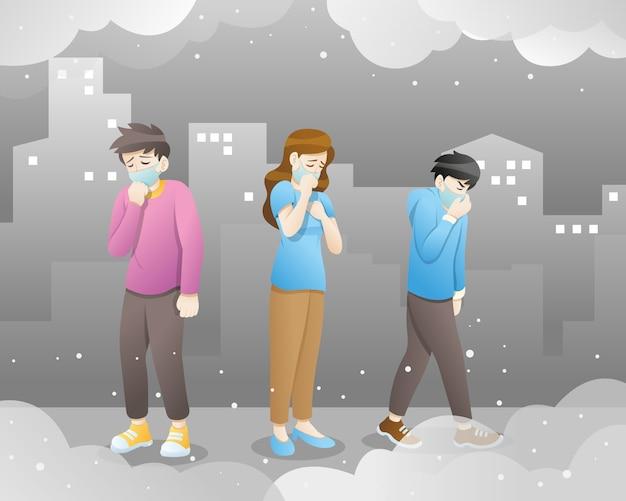 Ludzie w maskach z powodu drobnego pyłu