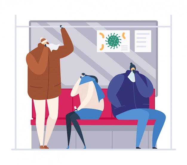 Ludzie w metrze podczas sezonowej grypy, ilustracja. dorosła kobieta z zimnym wirusem, chory tłum kichania. postać z kreskówki