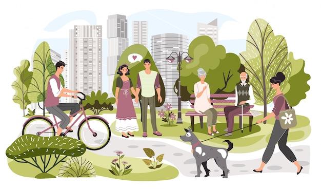 Ludzie w miasto parku, weekendowy czas wolny w naturze, ilustracja. letni park w nowoczesnej metropolii