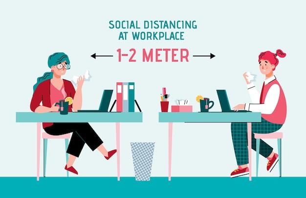Ludzie w miejscu pracy zachowują dystans społeczny, aby zapobiec rozprzestrzenianiu się chorób wirusowych lub grypy
