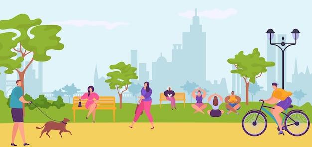Ludzie w miejskim parku, spacerujący, jeżdżący na rowerze, siedzący na ławce, uprawiający jogę