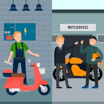 Ludzie w moto service banery pionowe