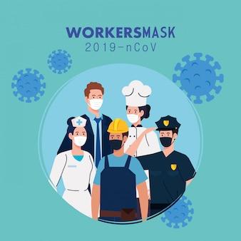Ludzie w mundurach i maskach roboczych ilustracji motywu pracowników koronawirusa