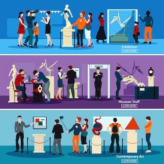 Ludzie w muzeum i galeria poziome banery
