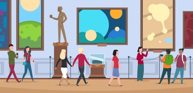 Ludzie w muzeum sztuki. widzowie chodzą i oglądają malarstwo i dzieła sztuki na wystawie sztuki współczesnej