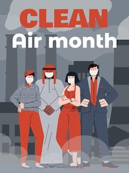 Ludzie w ochronnych maskach na twarz czekają miesiąca na czyste powietrze.