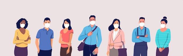 Ludzie w ochronnych medycznych maskach na twarz mężczyzna i kobiety noszący ochronę przed wirusem zanieczyszczenie powietrza miejskiego smog ilustracja emisji zanieczyszczeń pary