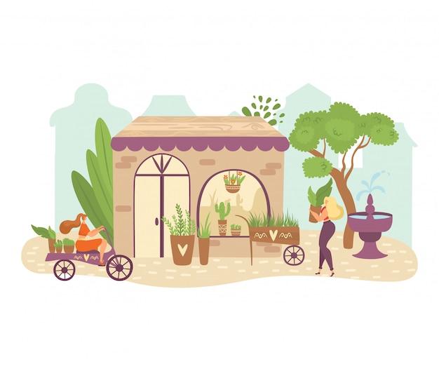 Ludzie w ogrodzie, zieleni płaska ilustracja z kobietami ogrodników przynoszą rośliny na rower, dbają o zielone zioła w doniczkach.