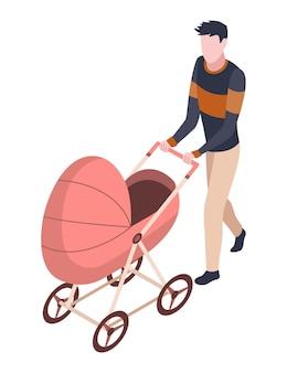 Ludzie w parku izometrycznym. mężczyzna spacerujący z dzieckiem w wózku. aktywne zajęcia rekreacyjno-wypoczynkowe. pożyteczne spędzanie wolnego czasu. wektor znaków na białym tle.