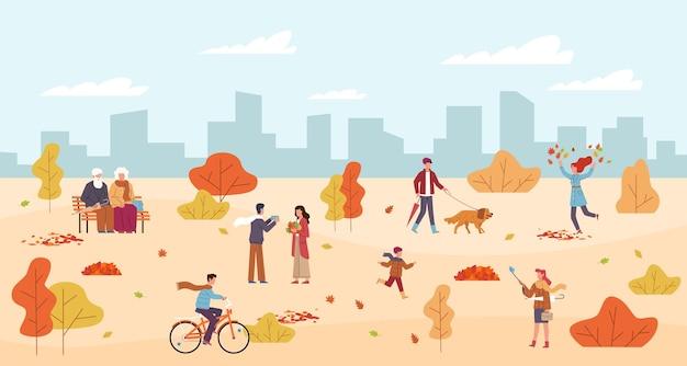 Ludzie w parku jesień. mężczyźni i kobiety chodzą w parku publicznym, odpoczynek na ławce, biegnie dziecko, postacie z parasolem wśród żółtych pomarańczowych liści, jazda na rowerze, spacery z psem jesień tło wektor