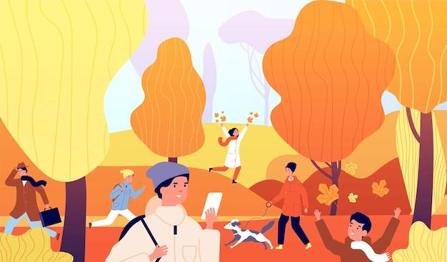 Ludzie w parku jesień. rodzinne zajęcia na łonie natury. dzieci bawiące się, spacer osoby. upadek ogród, kolorowe rośliny i gród ilustracja wektorowa. zaparkuj na zewnątrz z ludźmi, drzewo spada natura