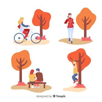Ludzie w parku jesienią