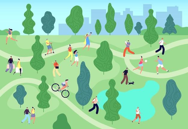 Ludzie w parku latem. miejski zielony ogród