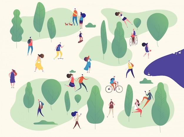 Ludzie w parku. rodziny na świeżym powietrzu na pikniku. mężczyzna, kobieta dzieci ze smartfonami, jazda na deskorolce rowerowej.