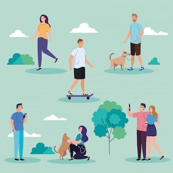 Ludzie w parku wykonujący projekt ilustracji wypoczynek na świeżym powietrzu