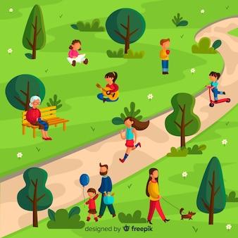 Ludzie w parku