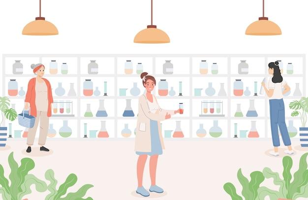 Ludzie w płaskiej ilustracji apteki. wnętrze drogerii z klientami.
