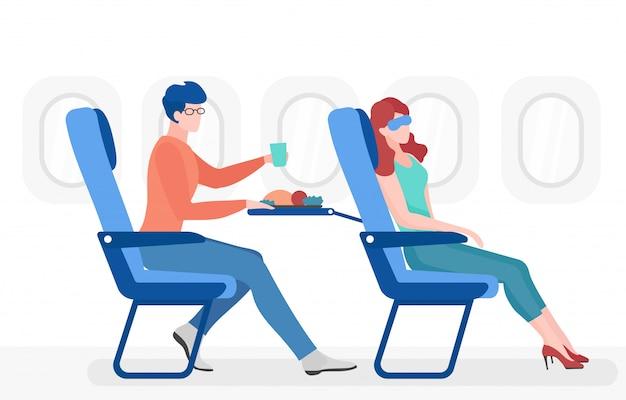 Ludzie w płaskiej ilustracji kabiny samolotu. pasażerowie samolotu w wygodnych siedzeniach postaci z kreskówek. mężczyzna je posiłek, młoda kobieta w masce na oczy śpi. transport lotniczy, lot komercyjny