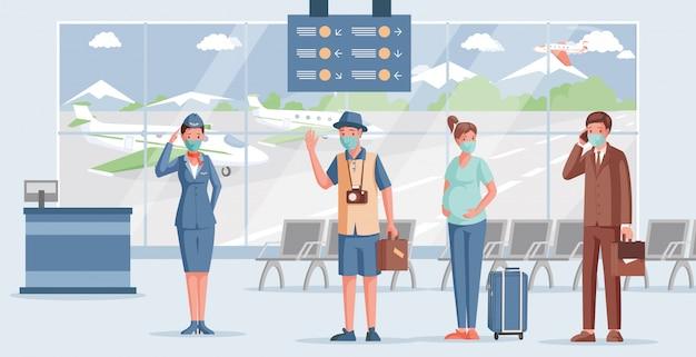 Ludzie w płaskiej ilustracji lotniska. pracownik lotniska w masce i mundurze witającym pasażerów.