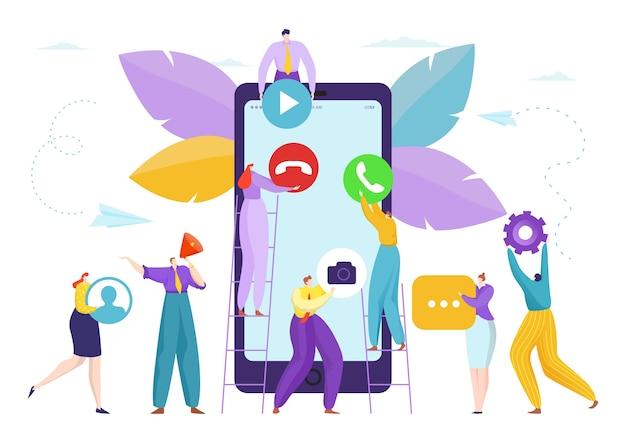 Ludzie w pobliżu ilustracji rozwoju płaskiego projektowania smartfonów
