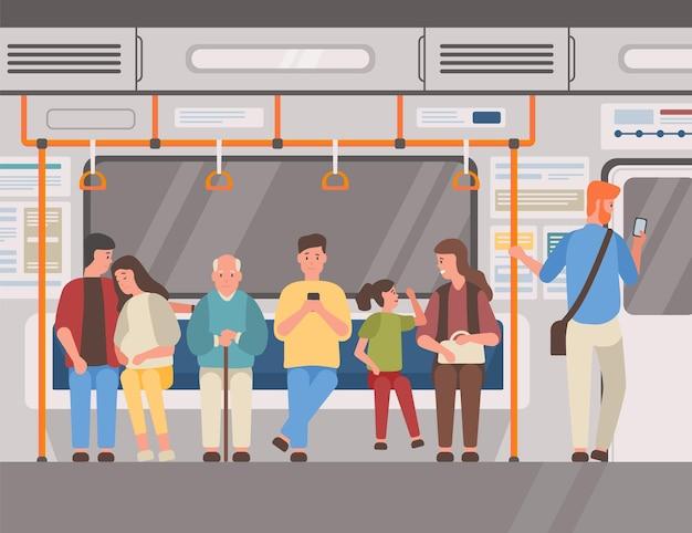 Ludzie w pociągu metra, ilustracja wektorowa płaskiego transportu publicznego