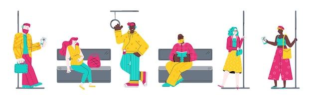 Ludzie w pociągu metra stojący i siedzący ilustracja