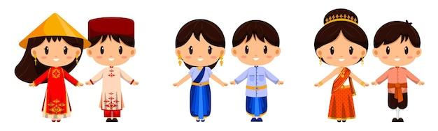 Ludzie w postaci tradycyjnej odzieży. międzynarodowy strój reprezentuje kulturę narodów na całym świecie