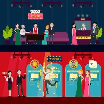 Ludzie w poziome banery kasyna