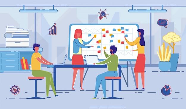 Ludzie w pracy omawiają plany na przyszłość i wydarzenia.