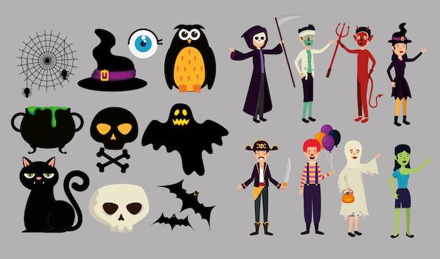 Ludzie w przebraniu na halloween